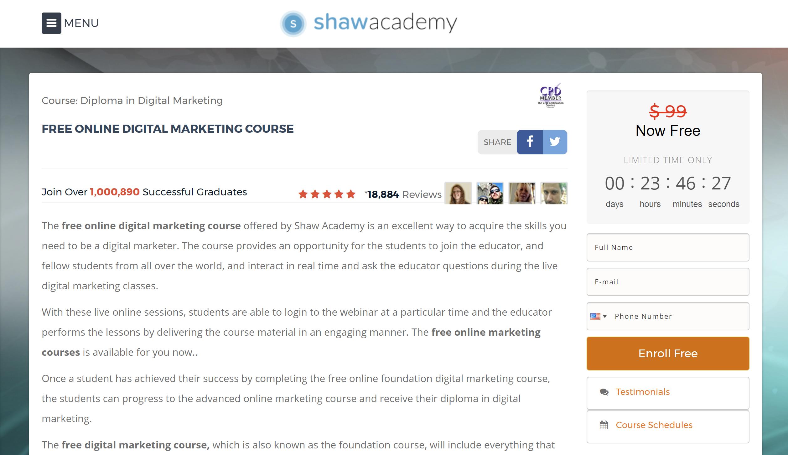 digital marketing course free social media marketing course